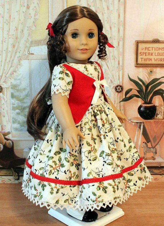 CHRISTMAS SALE 1850s Christmas Dress for Marie by BabiesArtUs