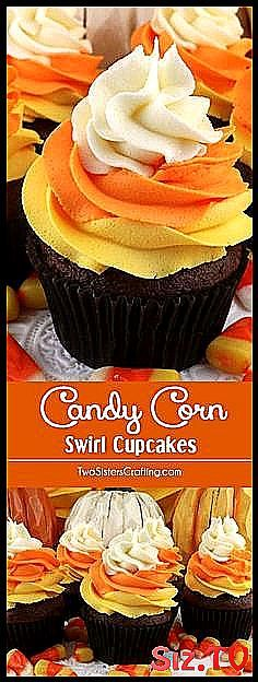 Candy Corn Swirl Cupcakes    these delicious Halloween Cupcakes looks like Candy    Candy Corn Swirl