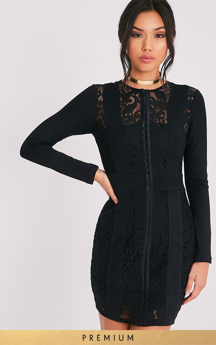 Issie black long sleeve lace panel bodycon dress buy pinterest