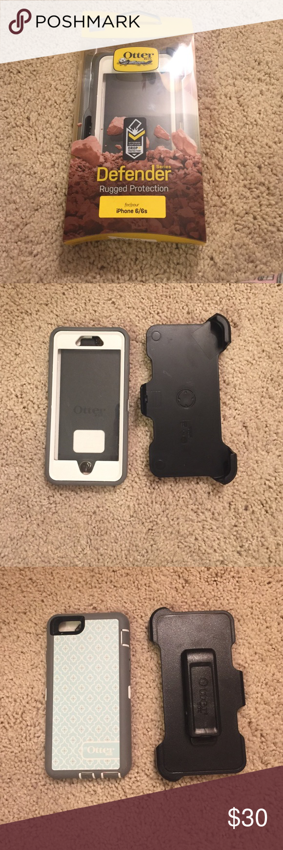 iPhone six Otterbox defender series iPhone 6 defender series otter box. The print is called morrocan sky and is a light blue with white quatrefoil and orange dots. The inner plastic is white. Holster clip, box, and warranty info included. EUC and only a year old. OtterBox Accessories Phone Cases