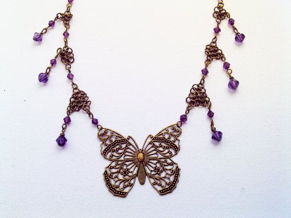 Butterfly Necklace with Chainmaille Drops by Bluebirdsanddaisies, £12.00