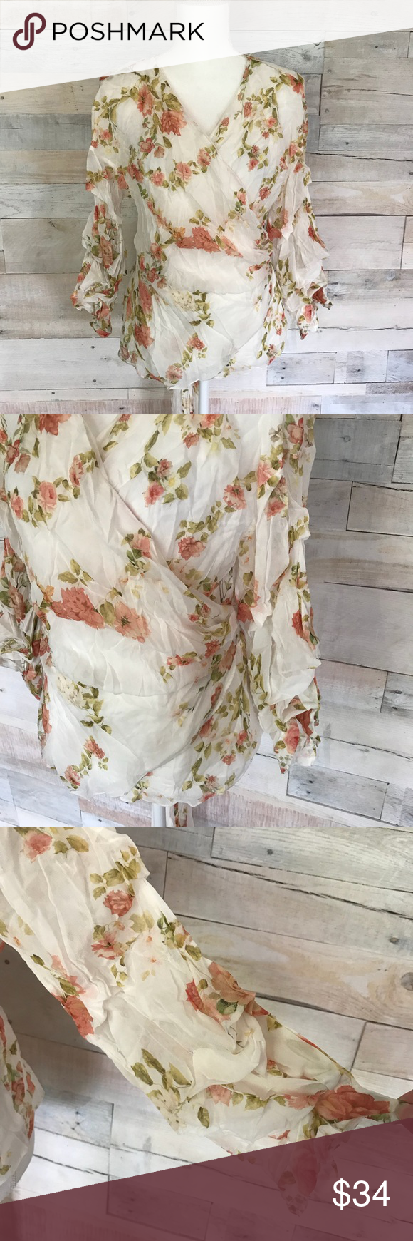 b5f7481f Zara White Sheer Floral Wrap Blouse Top Large Zara White Sheer Floral Wrap  Blouse Top Shirt With Ruched Sleeve Detail Women's Size Large Great  condition ...