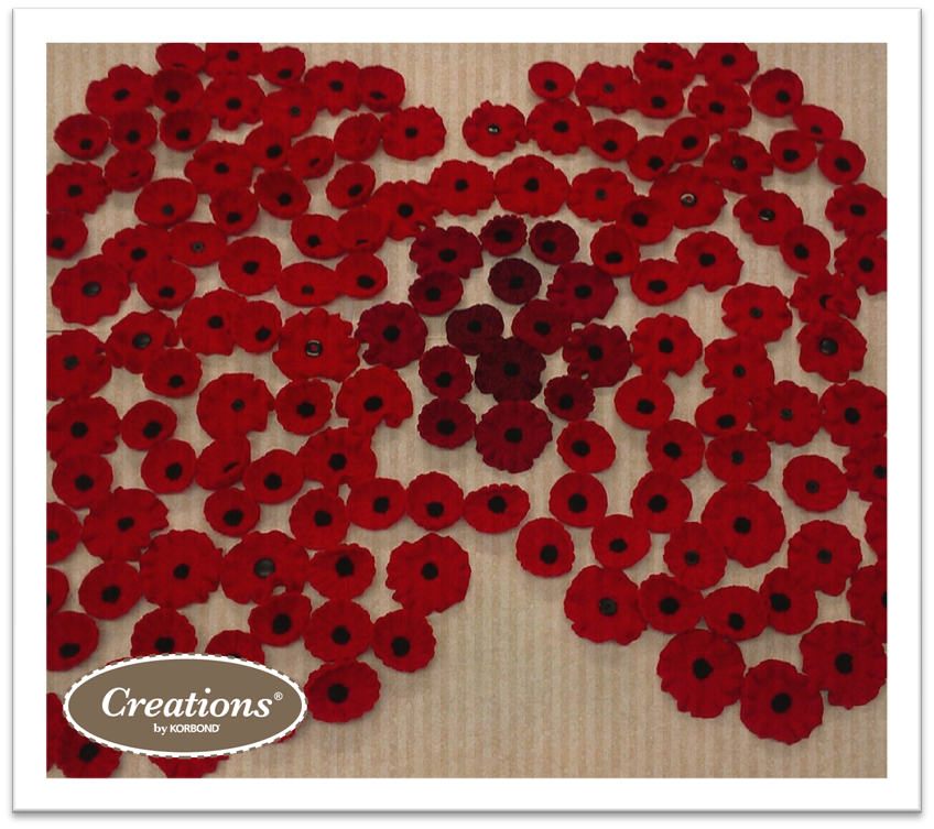 Poppies Hand Knitted by the Korbond Team, friends and families for The Royal British Legion