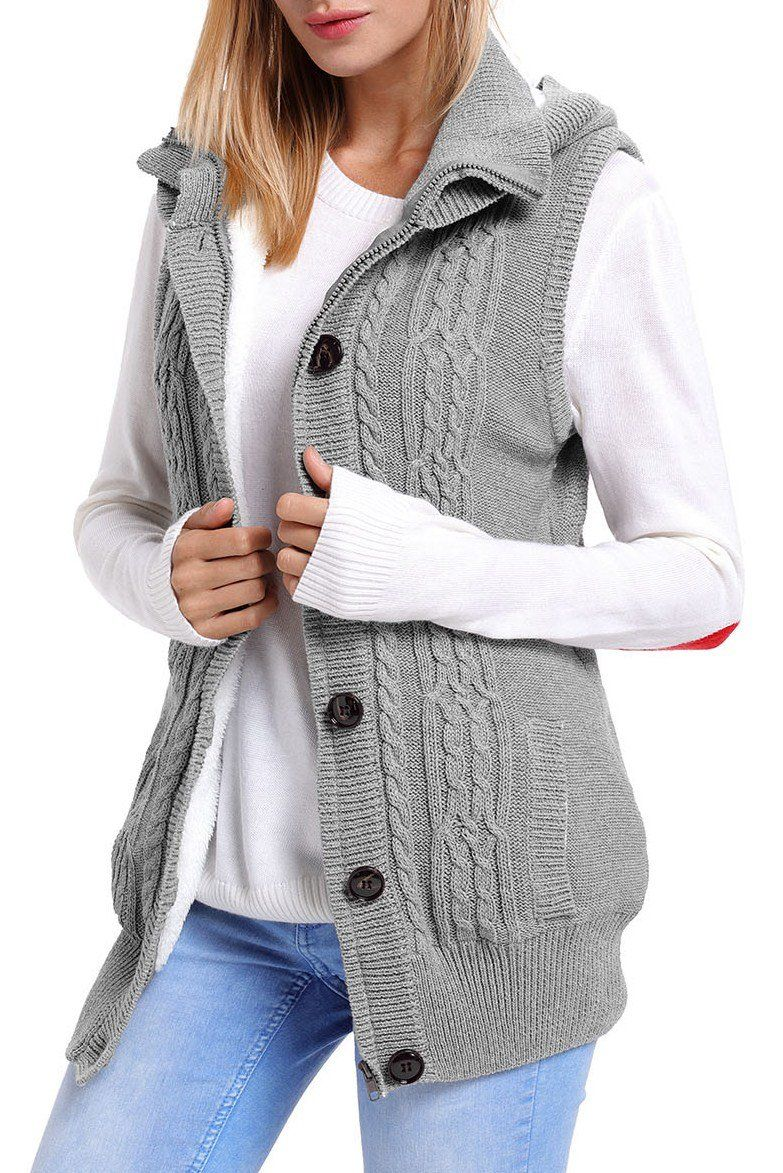 Women Grey Cable Knit Hooded Sweater Vest | Hooded sweater, Cable ...