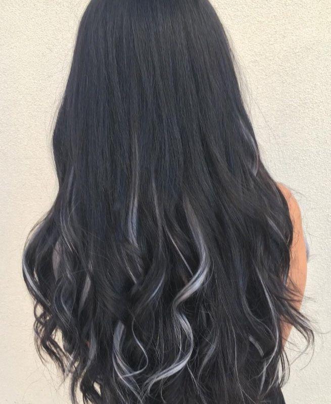 Black Hair With Gray Highlights Hair Color For Black Hair Black Hair With Grey Highlights Black Hair Dye