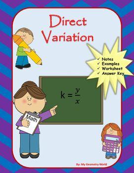 Algebra 1 Worksheet Direct Variation Algebra 1 Linear Equations