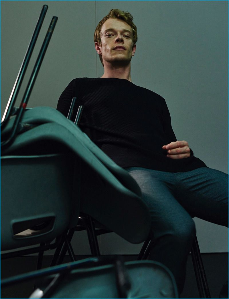 Alfie Allen wears a Whistles top with Farah trousers for Hunger magazine.