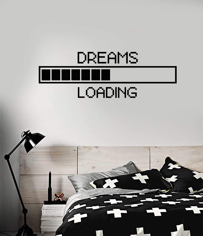 Vinyl Wall Decal Dreams Geek Bedroom Loading Pixel Art Decor Stickers Mural (ig5303)
