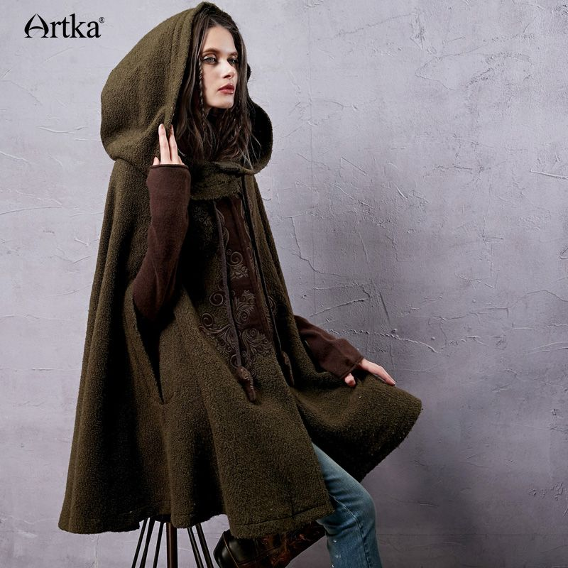 Cheap Mujeres artka Otoño Nueva Tortuga de Lana Con Capucha Capa abrigo  Bordado… b6cfa4a6dd7e