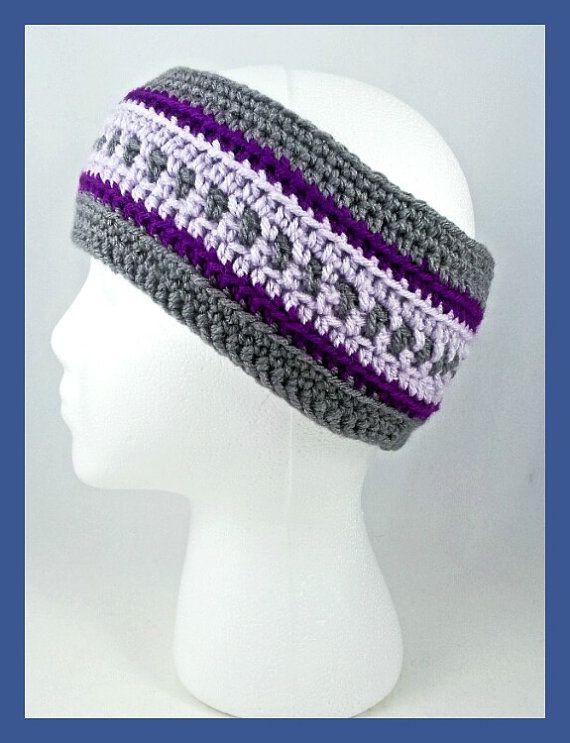 Gray and Purple Adult Headband Crochet Head Wrap by YarnedTogether ...