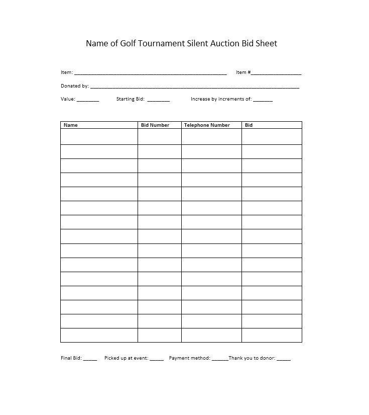 Download Silent Auction Bid Sheet 32 Fundraiser Pinterest