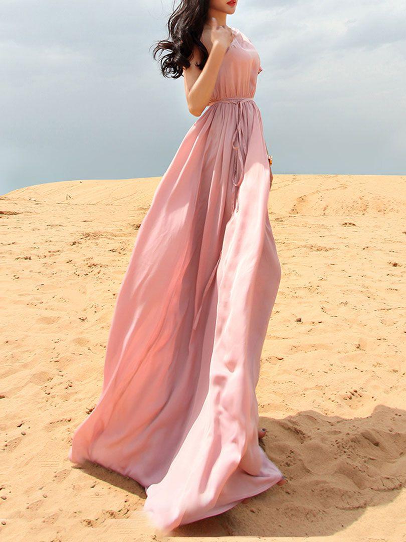 Pink one shoulder tie waist pleated maxi dress choies