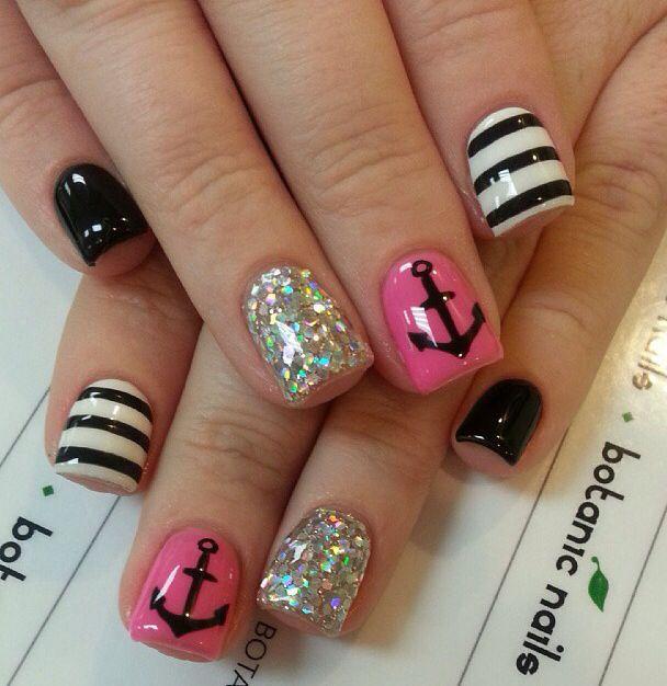 Love anchors!!   Nails   Pinterest   Acrylic nail art, Nail bling ...
