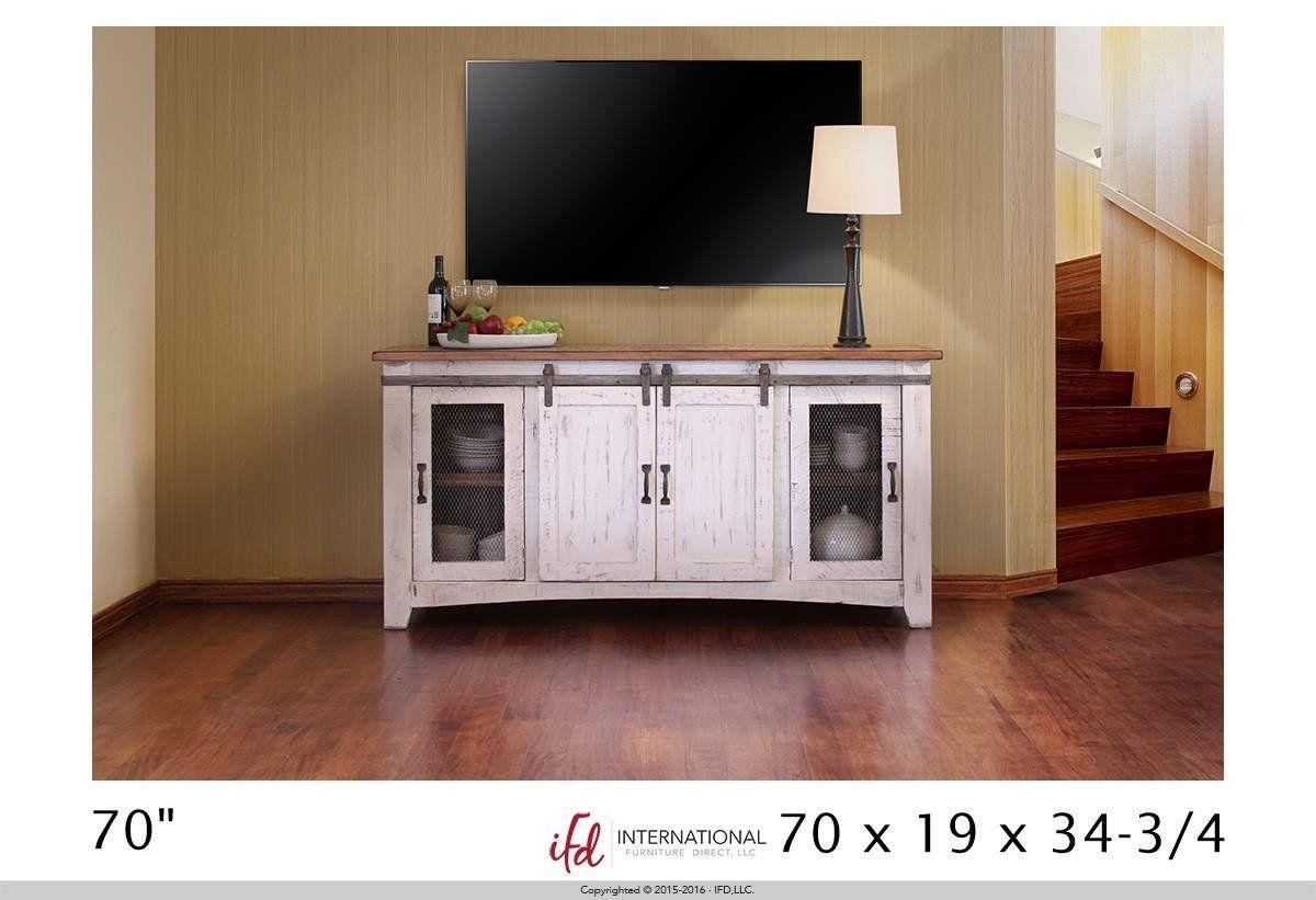 bb288c54e620 Rustic TV Stand 360 Pueblo White (80