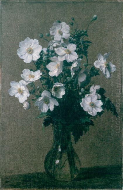 Oil Painting Reproduction Henri Fantin Latour Japanese Anemones 1884 Artisoo Com Henri Fantin Latour Flower Painting Oil Painting Reproductions