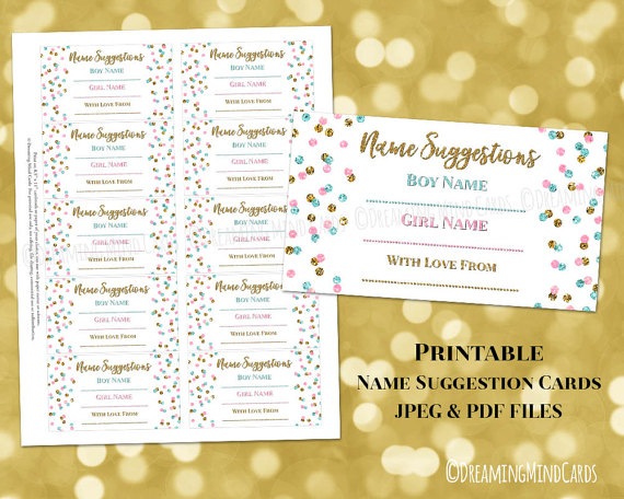 Name Suggestion Card For Baby Shower Printable Gold Pink Blue