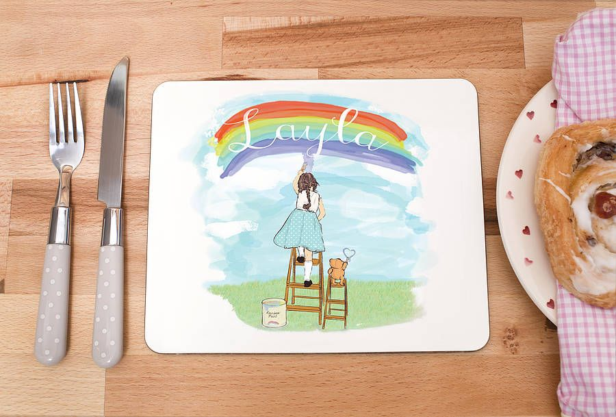 children's personalised placemat 'rainbows' by olivia sticks with layla   notonthehighstreet.com