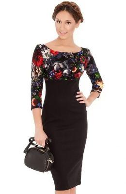 9a77720c7565 Elegantné kvetinové šaty Empire Line Midi vhodné do práce