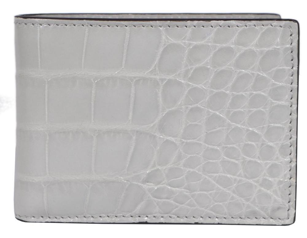 b2f607504870 NEW Gucci Men's 233187 $1,750 Light Grey Crocodile Alligator Mini Bifold  Wallet #Gucci #Bifold