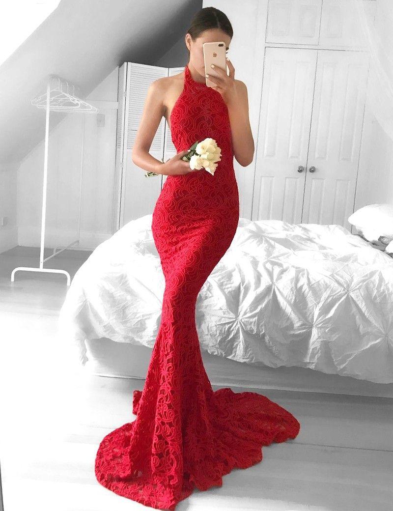 Charming mermaid prom dresshalter backless prom dressesburgundy