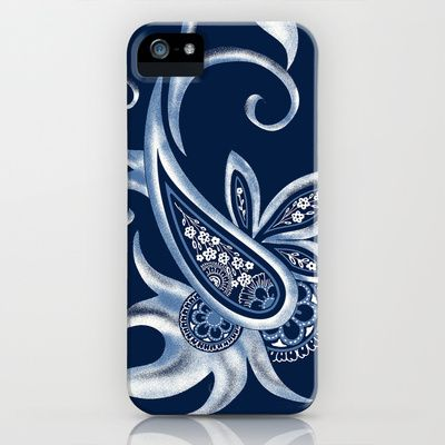 Paisley:Navy and White iPhone & iPod Case by Eileen Paulino - $35.00