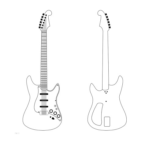 picture about 3doodler Stencils Printable named Guitar - The 3Doodler 3D creations 3d pen stencils, 3d