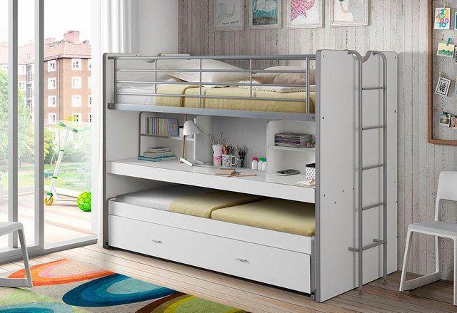 Hochbett mit MDF, Schreibtisch und 3 Schlafgelegenheiten