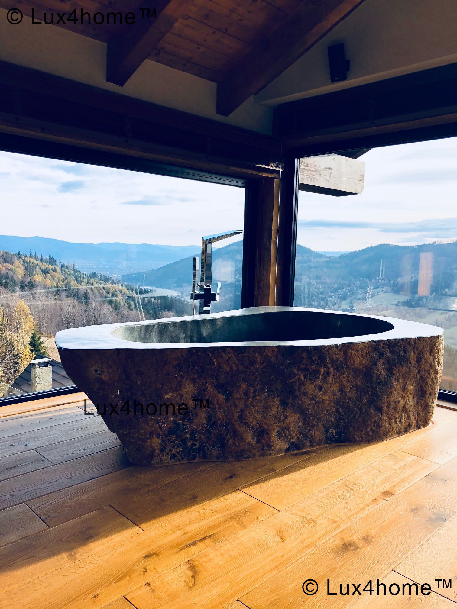 Natural River Stone Bathtub - Bathroom Ideas. Soaking stone bathtub ...