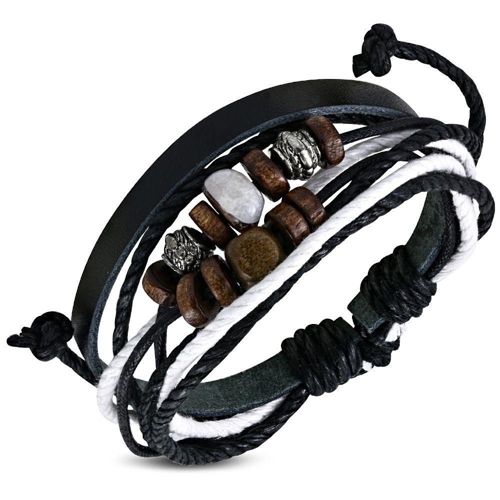 bracelet cuir et bois homme