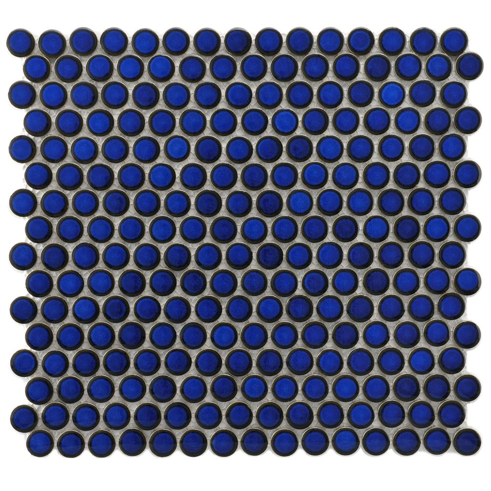Penny round ceramic tile 34 cobalt blue glossy stone tiles penny round ceramic tile 34 cobalt blue glossy dailygadgetfo Image collections