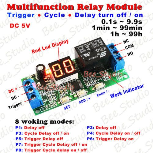 Dc 12v 24v Digital Led Infinite Cycle Delay Timer Switch On Off Relay Module Relay Electronic Circuit Projects Timer
