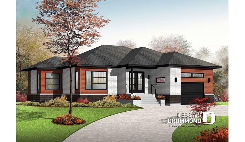 Vue Avant Modele De Base Du Plan De Maison Unifamiliale 3283 Plan Maison Moderne Maison Unifamiliale Plan Maison