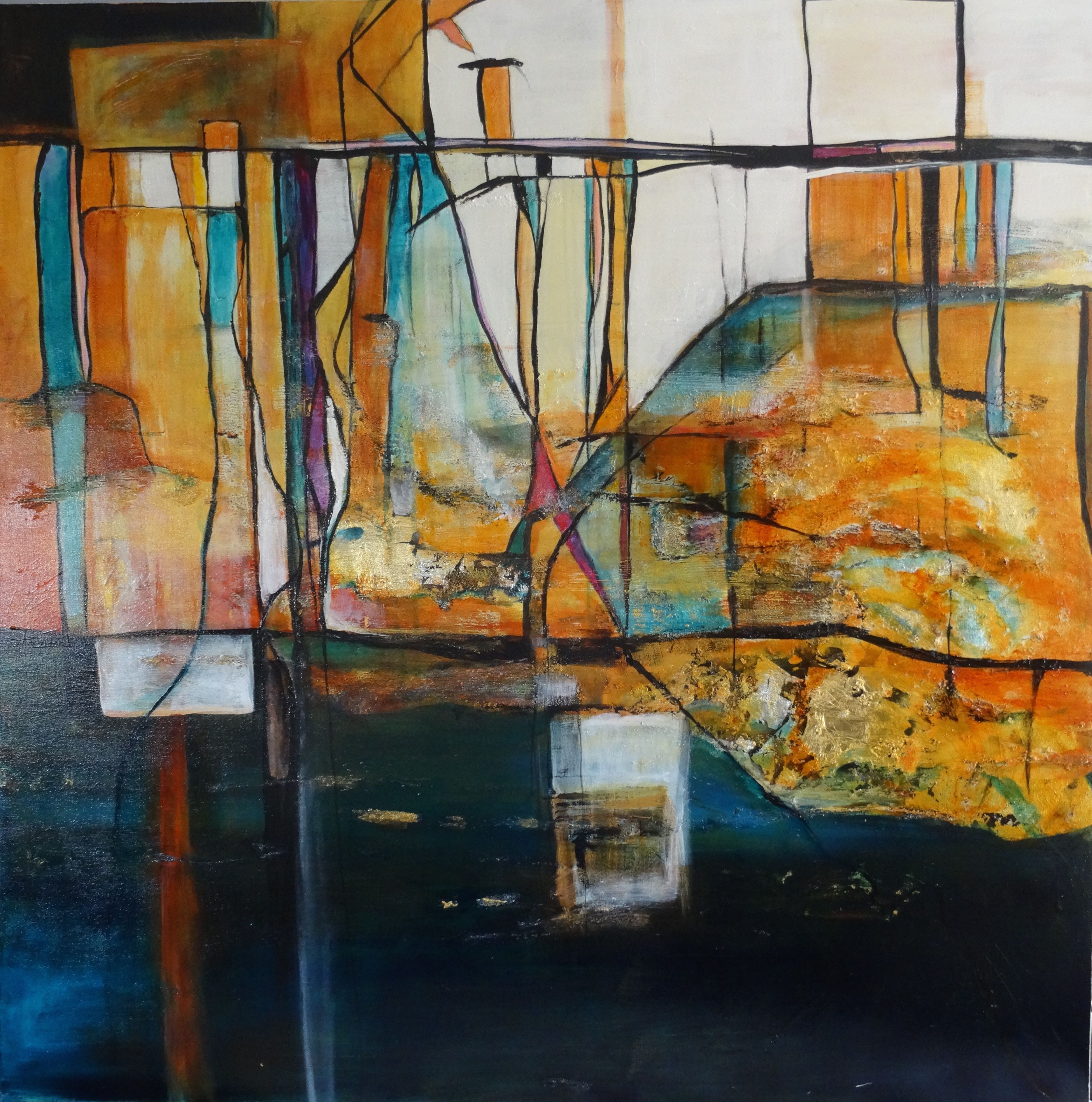 Jane michiel acrylic on canvas 48x48 abstract abstract