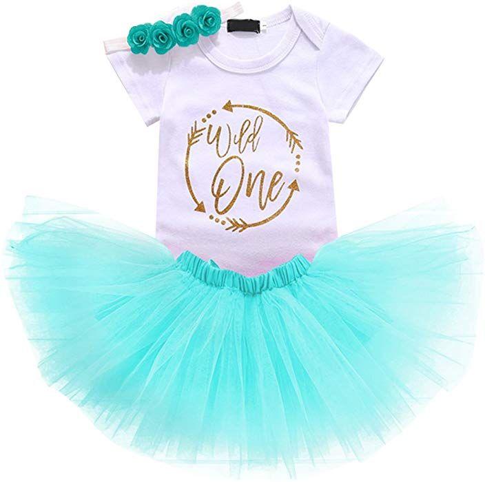 3bec12cbb56 Amazon.com  Baby Girls 1st Birthday Cake Smash 3pcs Outfits Set Cotton  Romper Bodysuit+Tutu Dress+Flower Headband Princess Skirt Clothes Blue  Arrow Wild one ...