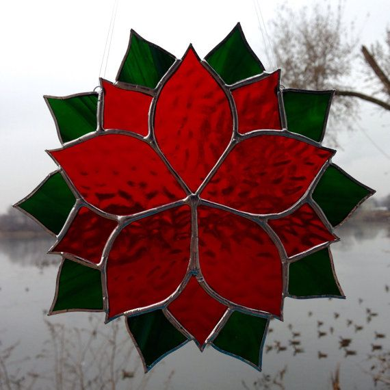 Red Poinsettia Stained Glass Suncatcher by Sweveneers on Etsy