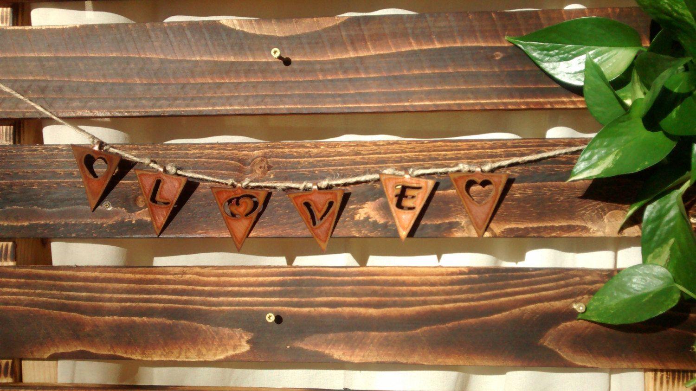 """Pennants """"Love"""" in Copper by GowenStudios on Etsy"""