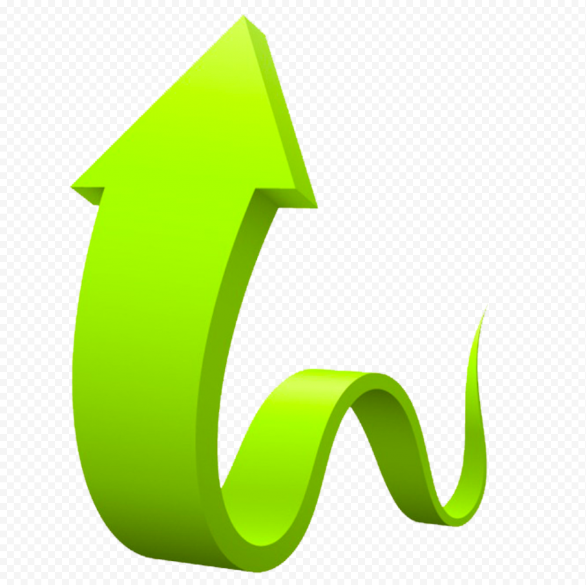 3d Graphic Green Curved Arrow Up Curved Arrow Graphic Arrow