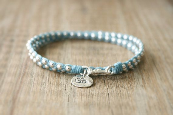 Yoga Beaded Bracelet - Irish Waxed Linen Wrap Bracelet with Sterling Silver Beads and Sterling Om Charm on Etsy, $40.00