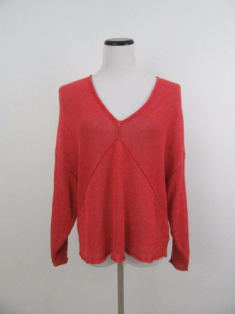 HELMUT LANG 100% Linen Woven Knit V Neck Dolman Slouch Top Sweater Size L #HELMUTLANG #Top