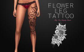 Sims 4 CC's – The Best: Flower Leg Tattoo by The Squishypeach – My Tattoo Blog 2019
