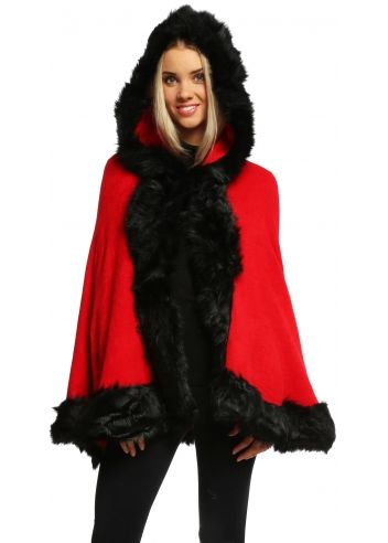 7eaf68669 Urban Mist Christmas Red Faux Fur Hooded Swing Cape | cape styles ...