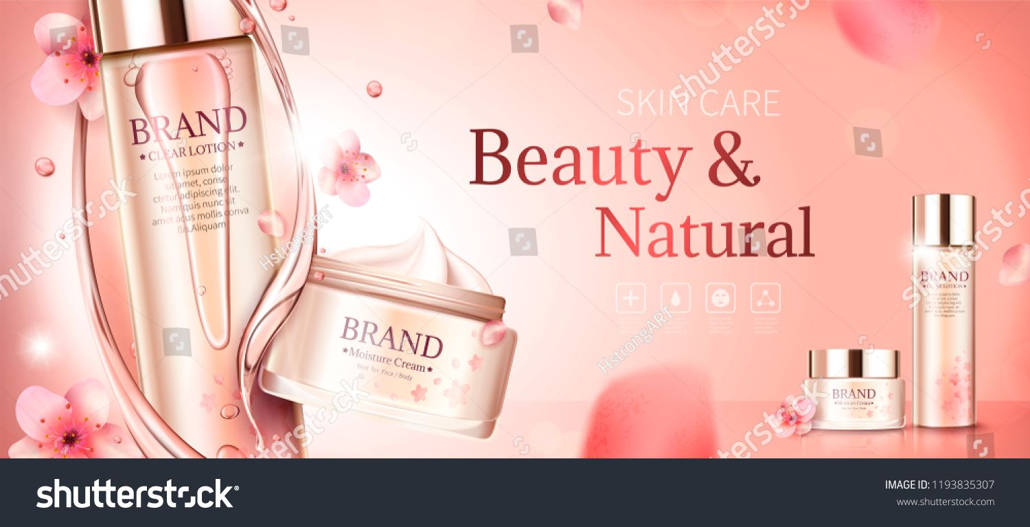 Cherry Blossom Skin Care Banner Ads With Swirl Essence And Petals In 3d Illustration Care Banner Skin Cherry Skin Care Beauty Skin Care Skin Care Redness