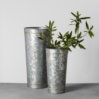 Galvanized Metal Vase With Flower Frogger Extra Large Hearth Hand With Magnolia Metal Vase Hearth Hand With Magnolia Hearth