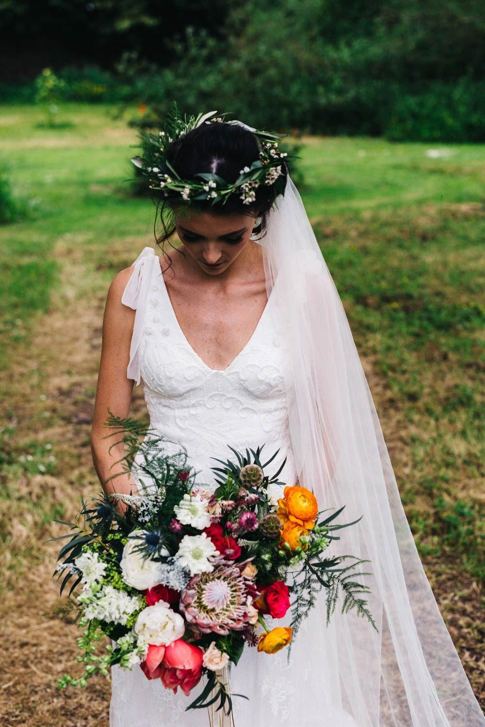 Bride In Jesús Peiró Bridal Gown Outdoor Wedding Ballyscullion Park Northern Ireland Mango Bridesmaid Dresses Honey And The Moon Photography