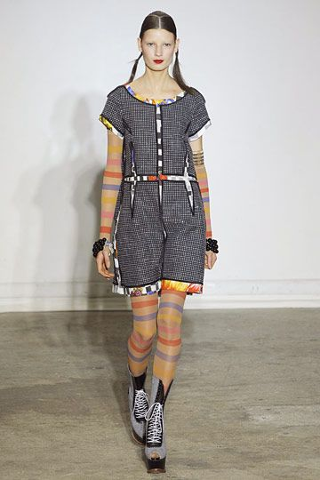 Wunderkind (Wolfgang Joop) »  Spring 2011 RTW __ interesting (clownface?) peeky-boo fabric effect