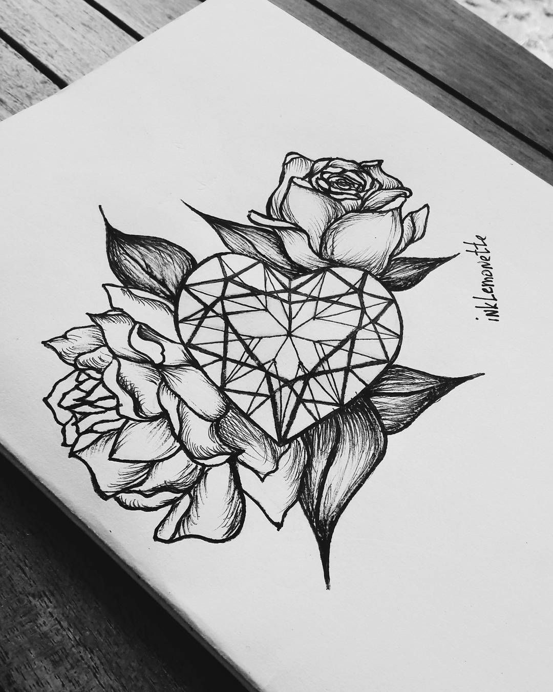 70dac3fd17eb1 #roses #heart #diamond #design #tattoo #idea #inklemonette #ink  #instatattoo #instaink #blackandwhite #nature #jewels #gemstone