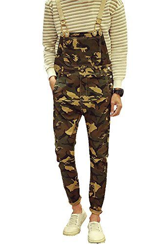 86dae15db380 Denim Men s Army Camouflage Slim Bib Overalls Size 34