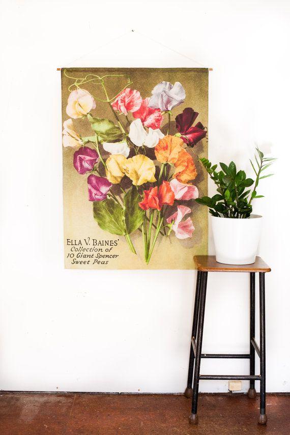 Vintage Botanical Fabric Wall Art Sweet Pea By Mybeardedpigeon