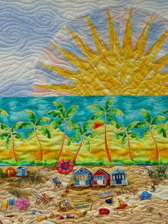 Beach Quilt Art Custom Made By Sampaguitaquilts On Etsy 550 00 Quilt Art Beach Quilt Art Quilts