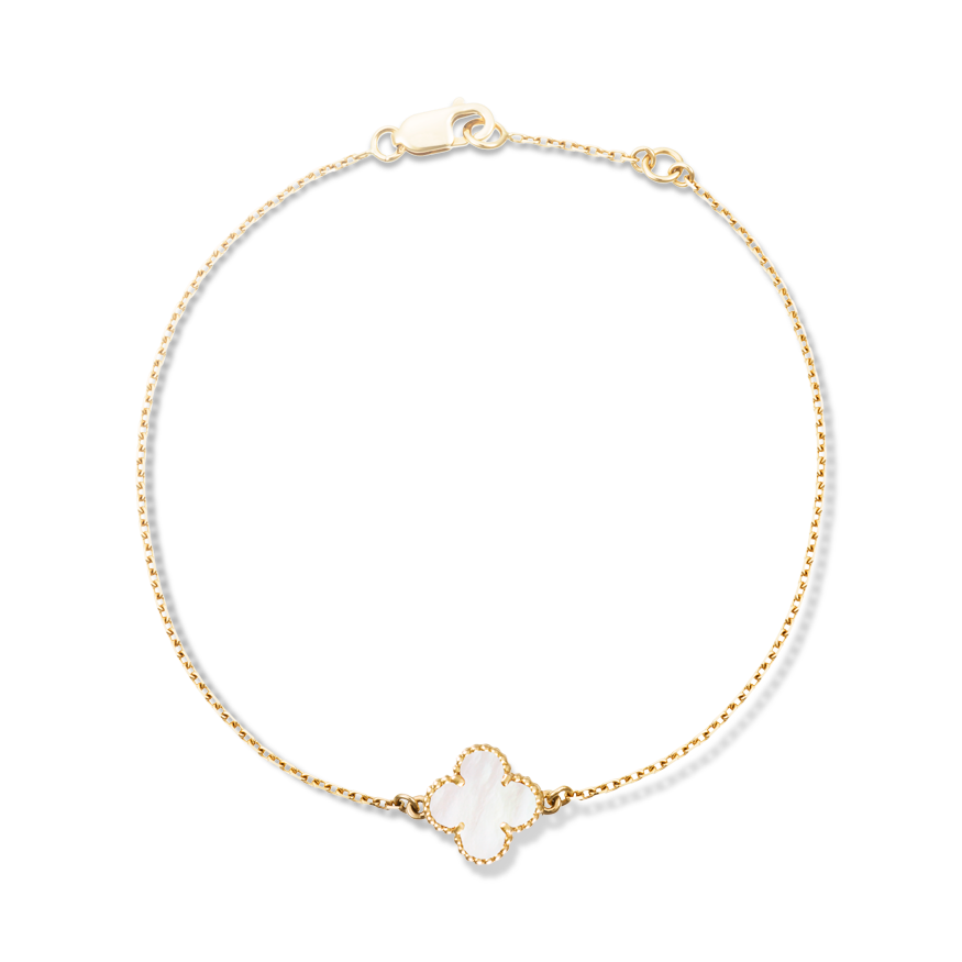 Sweet Alhambra Bracelet Yellow Gold White Mother Of Pearl